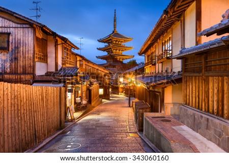 Kyoto, Japan old city at Yasaka Pagoda. - stock photo