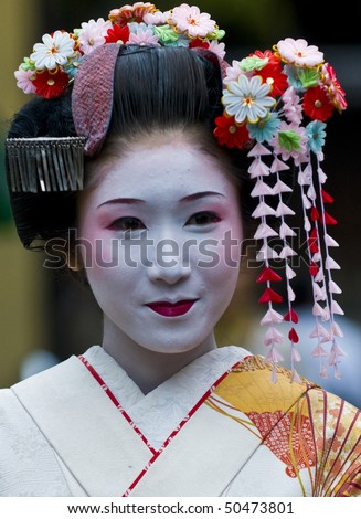 KYOTO - OCT  22: a participant on The Jidai Matsuri (Festival of the Ages) held on October 22 2009  in Kyoto, Japan . It is one of Kyoto's renowned three great festivals - stock photo