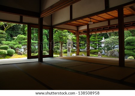 Kyoto: view on japanese garden from a temple (Tofuku-ji) - stock photo
