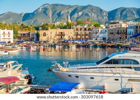 Kyrenia (Girne) harbour. Cyprus - stock photo