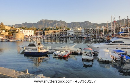 KYRENIA/NORTHERN CYPRUS - AUGUST 31 2015: Kyrenia fortress and harbour. Northern Cyprus