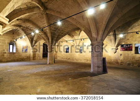 KYRENIA NORTHERN CYPRUS, FEBRUARY 04 2016:  inside of Bellapais Abbey in Northern occupied Cyprus. Editorial use.