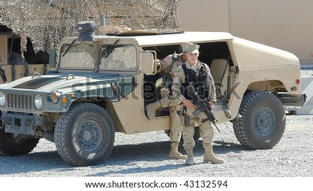 KYRGYZ REPUBLIC- JUNE 2: US army confirms the Manas airbase has been granted permission to continue to supply troops in Afghanistan on June 2 2008 in the Kyrgyz Republic. - stock photo