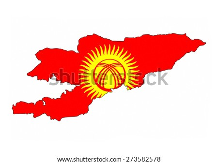 kyrgyzstan country flag map shape national symbol - stock photo