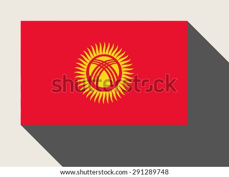 Kyrgyzstan flag in flat web design style. - stock photo