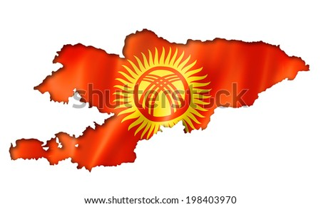 Kyrgyzstan flag map, three dimensional render, isolated on white - stock photo