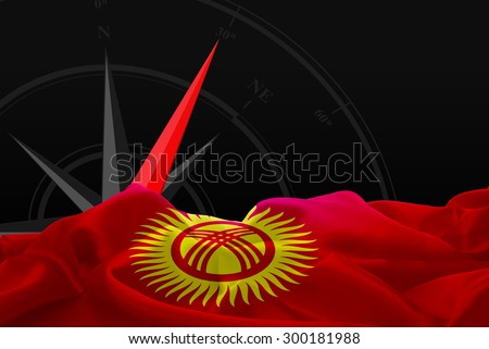 Kyrgyzstan High Resolution flag and Navigation compass in background