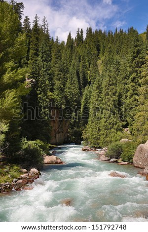 Kyrgyzstan.mountain river.  - stock photo