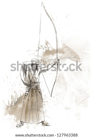 """Kyudo - modern Japanese martial art. /// A hand drawn illustration of an old Samurai shooting an arrow from a bow (""""the Archer"""") - stock photo"""