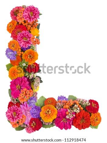 L, flower alphabet isolated on white - stock photo
