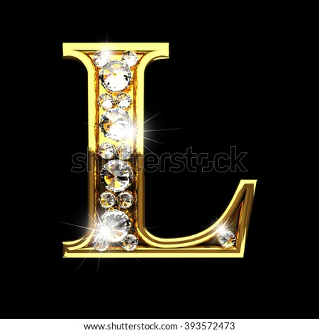 L isolated golden letters with diamonds on black