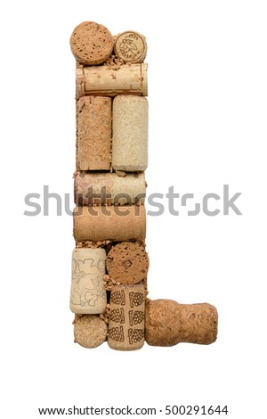 L, letter of the alphabet from wine corks without writing on white background