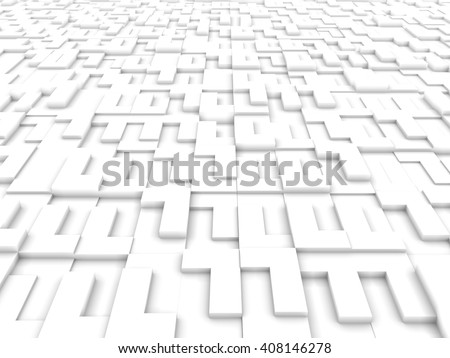 L shape White Blocks Abstract Background. 3D rendering