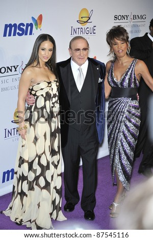 L to R: Alicia Keys, Clive Davis & Whitney Houston at music mogul Clive Davis' annual pre-Grammy party at the Beverly Hilton Hotel. February 9, 2008  Los Angeles, CA Picture: Paul Smith / Featureflash - stock photo