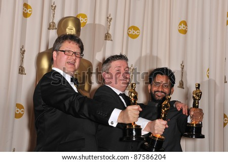 L to R: Ian Tapp, Richard Pryke & Resul Pookutty at the 81st Academy Awards at the Kodak Theatre, Hollywood. February 22, 2009  Los Angeles, CA Picture: Paul Smith / Featureflash