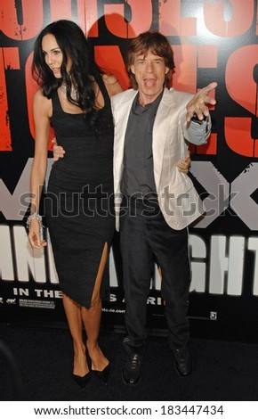 L'Wren Scott, Mick Jagger at SHINE A LIGHT Premiere, Clearview's Ziegfeld Theater, New York, NY, March 30, 2008  - stock photo