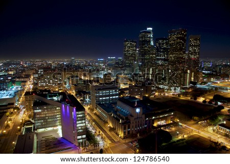 LA at Night - Wide - stock photo