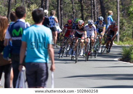 LA BARACCA, LA SPEZIA, ITALY - MAY 17: Nine cyclists on escape, with Lars Bak that will win the stage, during the 12th stage of 2012 Giro d'Italia on May 17, 2012 in La Baracca, La Spezia, Italy - stock photo