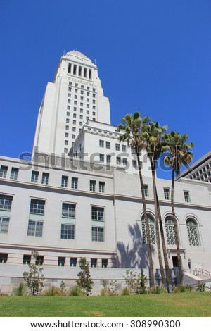 LA, California, USA - August 14, 2015: Los Angeles City Hall is the center of the government of the city of LA, houses the mayor's office and the meeting chambers and offices of the LA City Council. - stock photo