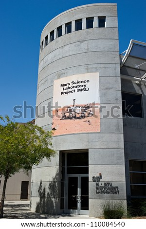 LA CANADA, CA - AUGUST 13: The testing facility for the NASA Mars Science Laboratory, named Curiosity, at the Jet Propulsion Laboratory in La Canada, CA on August 13, 2012. - stock photo