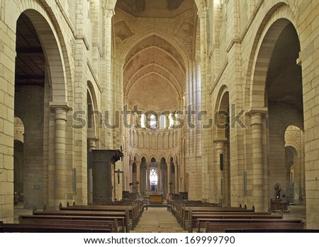 LA CHARITE SUR LOIRE, FRANCE - AUGUST 1: The Church Sainte-Croix-Notre-Dame on August 1, 2005. Church was listed as a UNESCO World Heritage Site, as part of the Routes of Santiago de Compostela.