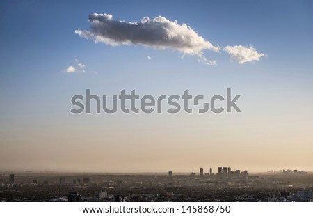 LA city downtown with heavy smog