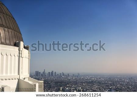 LA cityscape and observatory - stock photo