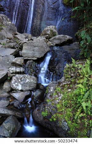 La Coca Falls in the El Yunque rainforest in the Caribbean National Forest, Puerto Rico - stock photo