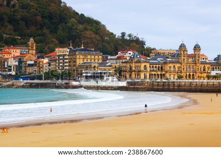La Concha beach in autumn day at San Sebastian.  Spain - stock photo