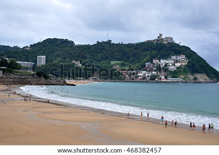 La Concha beach, San Sebastian, Spain, editorial use only, 2016 August 09