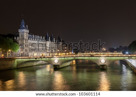 La Conciergerie and Pont au Change, over the Seine river. Paris, France. Photo taken on: May 14th, 2010