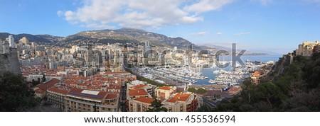 LA CONDAMINE, MONACO - JANUARY 18: Hercules Port Panorama in Monaco on JANUARY 18, 2012. Cityscape of Hercules Harbour in La Condamine, Monaco. - stock photo