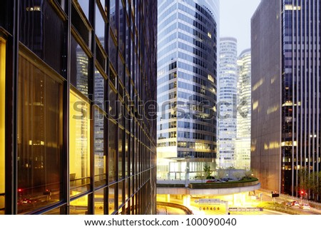 La defence, the business center in Paris. View out of office building - stock photo