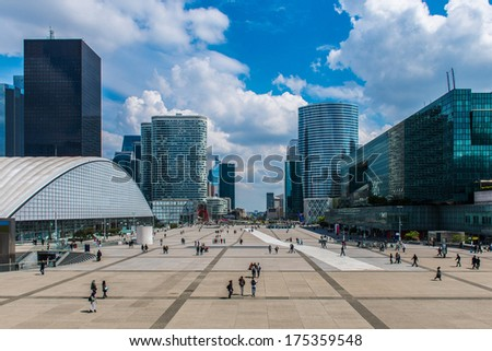 La Defense In Paris with modern buildings in background - France. - stock photo