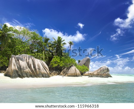 La Digue island, Seyshelles, Anse Source d'Argent. The island of dreams for a rest and relaxation. - stock photo