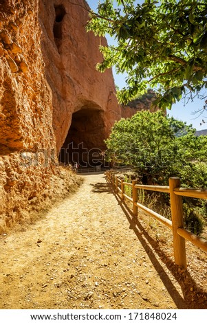 La Encantada cave in Las Medulas ancient Roman mines, UNESCO, Leon, Spain  - stock photo