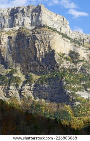 La Fraucata Wall in the Pyrenees, Ordesa Valley National Park, Aragon, Huesca, Spain. - stock photo