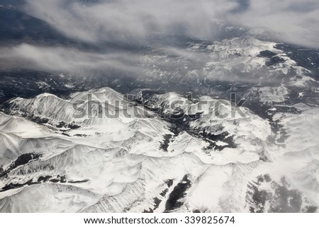 La Garita Mountains - part of San Juan Mountains in South Colorado, USA. Snowy landscape in April.