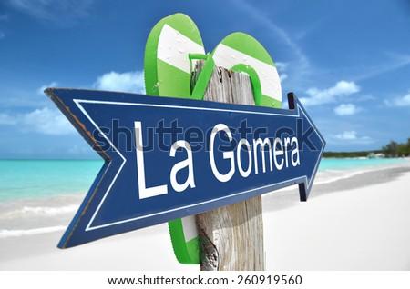 La Gomera arrow on the beach - stock photo