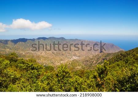 La Gomera island landscape in sunny day, Canary islands, Spain. - stock photo