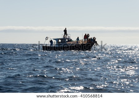 LA GOMERA, SPAIN - FEBRUARY 11. Tourists makes whale watching on a boat in the Atlantic near the Island La Gomera  on February 11, 2016. There are pilot whales and Dolphins endemic close the Canaries - stock photo