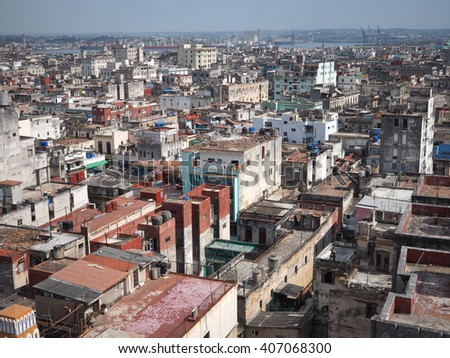 La Havana from the top of the old Bacardi Building, Cuba - stock photo