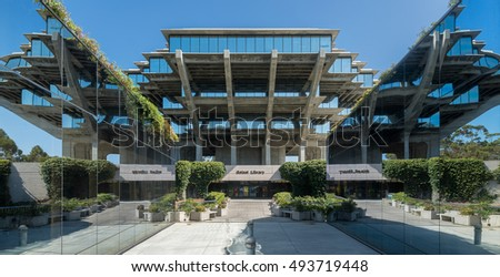 LA JOLLA, CALIFORNIA - AUGUST 9: Geisel Library on Gilman Drive on the campus of the University of California-San Diego on August 9, 2016 in La Jolla, California