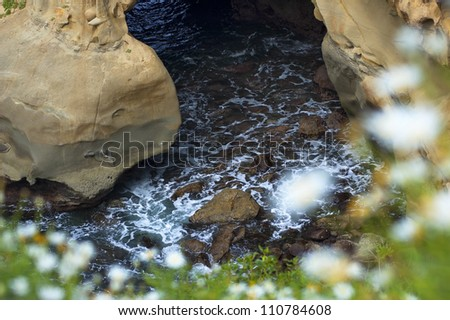 La Jolla Cliff  Water View - stock photo
