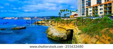 La Jolla Cove Panorama. San Diego, California USA. California Tourism.  - stock photo