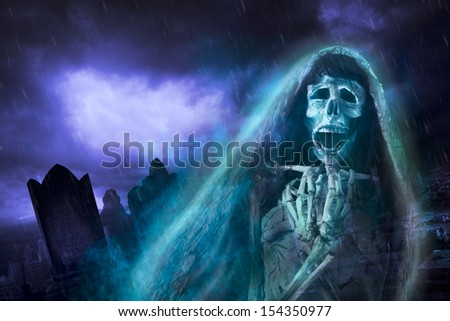 "La llorona, mexican scary ghost floating on a graveyard at night, seasonal Halloween, ""dia de los muertos"" photo composite,"