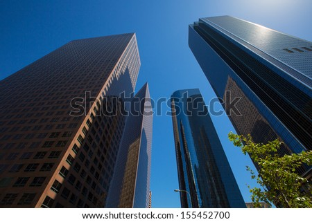 LA Los angeles downtown skyscrapers buildings viewed from below at California - stock photo