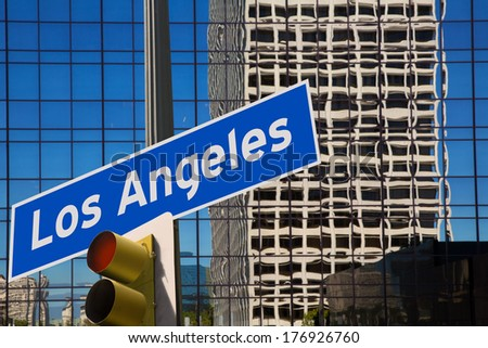 LA Los Angeles downtown wit road sign photo mount in redlight [photo illustration] - stock photo