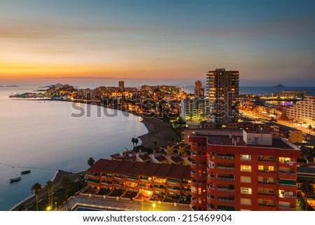 La Manga del Mar Menor Skyline at Night, Murcia, Spain - stock photo