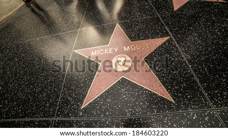 LA - MARCH 29: Hollywood Walk of Fame on March 29, 2014 in LA. The Hollywood Walk of Fame has over 2,500 five-pointed stars embedded in 15 blocks of sidewalk of Hollywood Boulevard.